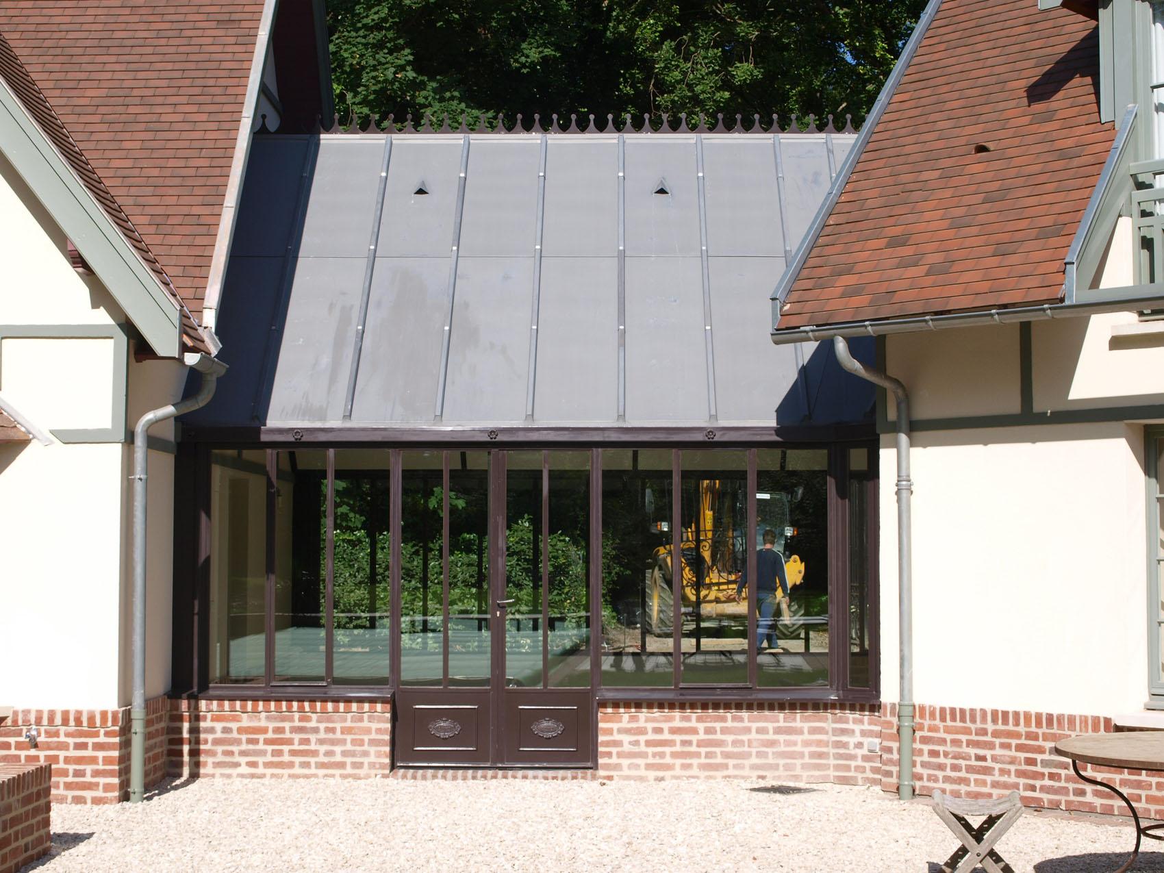 véranda acier toit zinc